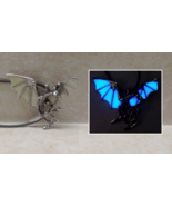 Flying DRAGON and SWORD GLOW in the DARK Blue Fantasy Charm Pendant Neck... - $14.25