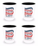 Patriotic Set of 4 Shot Glasses Home of the Free Because of the Brave Ve... - $27.39
