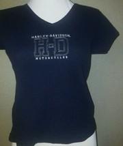 Harley Davidson Pompano Beach Black Shirt Top Size M Cute - $34.43