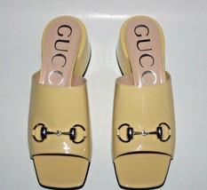 NIB Gucci Lexi Horsebit Patent Leather Slides Mid-Heel Sandals 38.5 - $395.01