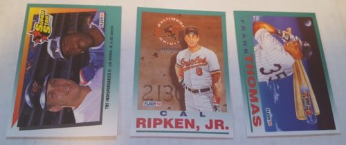 1992 Fleer Baseball #703, #711 Cal Ripken Jr. #712 Frank Thomas