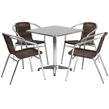 "Offex 27.5"" Square Aluminum Indoor Outdoor Bar Table with 4 Rattan Chairs - $315.00"