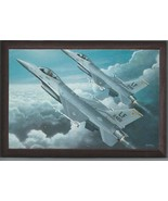 """4"""" X 6"""" Wooden Plaque with a Print of 2 General Dynamics F-16 Fighting F... - $7.87"""