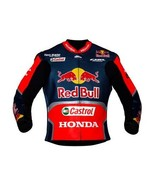 HONDA RED BULL REAL COWHIDE MOTORCYCLE LEATHER JACKET FOR MEN ALL SIZES - $149.00