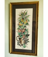 Large Vintage Watercolor Still Life Fruit Picture Painting Framed - $24.99