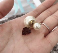 Authentic Christian Dior 2019 CRYSTAL HEART DIOR TRIBALES PEARL SINGLE EARRING image 5