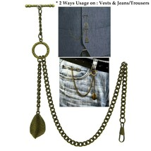 Albert Chain Pocket Watch Chain Brass Color 2 Ways Vests & Jeans Fob T B... - $17.99