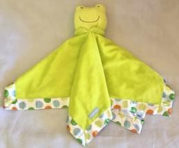 Carters Green Frog Plush Security Blanket HUG ME Polka Dot Colors Satin ... - $15.90 CAD