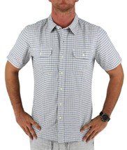 Levi's Men's Cotton Short Sleeve Plaid Button Up Shirt White 651840001
