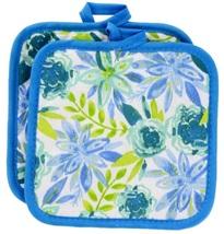 FLORAL Design KITCHEN SET 6pc Dish Towels Potholders Oven Mitt Blue Flower Enjoy image 5