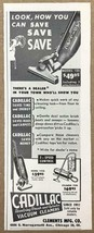1948 Cadillac Vacuum Cleaners Print Ad Upright Models 125 143 and Cylinder Type - $7.82