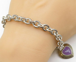 925 Sterling Silver - Vintage Purple Carnelian Love Heart Chain Bracelet... - $88.36
