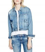 GUESS Womens Cropped Boxy Denim Jacket in Bossa Nova Destroy Wash Size S... - $53.46