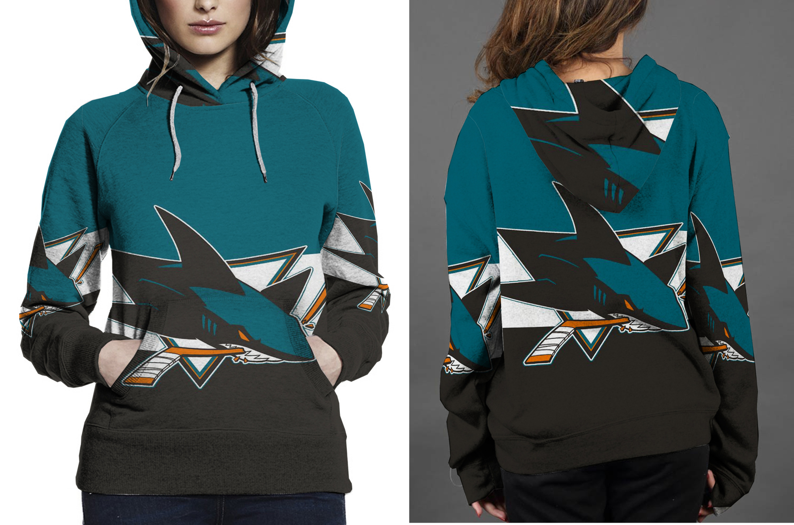 San jose shark hoodie  fullprint for women