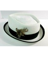 Stacy Adams Straw Style Feather FEDORA HAT White MEDIUM - $24.74