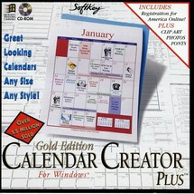 Vintage Microsoft Windows Gold Edition Calendar Creator Plus CD ROM 1995 New - $10.00