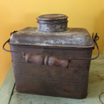 Antique Coal Miner's  Metal Lunch Pail with Cup - $62.89