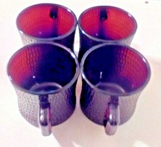 Vintage Hobnail Maroon Red Glass Coffee Cups Mugs Set Of 4 Rare - $35.64