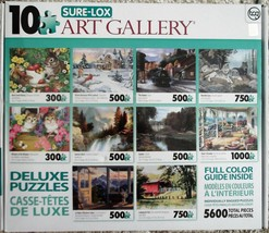 Sure-Lox 10 Art Gallery Puzzles 5600 Total Pieces Train Wolves Waterfall... - $9.00
