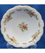 "Johann Haviland Moss Rose Berry Bowl White Red Roses Gold Trim 5"" - $7.43"