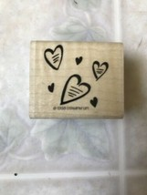 1998 Stampin Up Scattered Hearts Wooden Rubber Stamp - $8.59