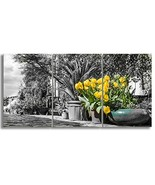 KALAWA Bright Yellow Flowers with All Canvas Wall Art Large 3 Panel Mode... - $80.02