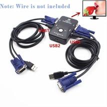 KVM Switch Box 2 Port USB 2.0 Adapter Control Up ot 2 Computers 2 VGA US... - $15.83
