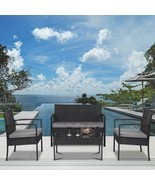 (Ships From USA) 4 PCS Outdoor Patio Rattan Wicker Furniture Set Table S... - £383.98 GBP