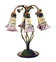 "19""H Tifany Pond Lily White & Pink 6 LT Table Lamp - 102416 - £311.80 GBP"