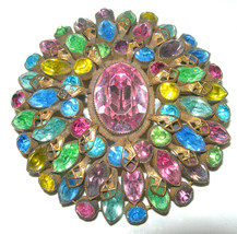 UNSIGNED ORIGINAL BY ROBERT VINTAGE RHINESTONE CIRCLE DOMED BROOCH PIN L... - $135.00
