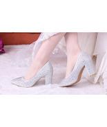89h180a Luxury Rhinestone crystal pump, block heel, Size 4-9.5, silver - $48.80