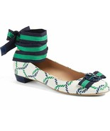 Tory Burch Maritime Ankle Wrap Flats Isle Ribbon Ballerina Bow Shoes 7.5 - $139.00