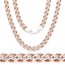 2-Tone 925 Silver 14K RG Plated Double Curb Cuban Link Italian Chain 5mm... - $77.50+