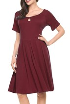 Hotouch Women's Keyhole Flare?Dress Short Sleeve/Long Sleeve Casual A-line XL - $13.51