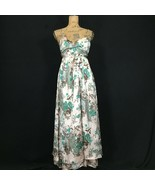 Designer Silk Maxi Dress 6 Med FIORI DI ZUCCA Wrap Top Gray Green Paisle... - $129.95