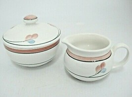 Rorstrand Jenny Sugar Bowl with Lid and Creamer Made in Sweden Pink Band... - $29.69