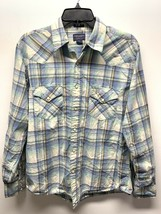American Eagle Mens Shirt Button Down Pearl Snaps Western Blue Green Pla... - $19.79