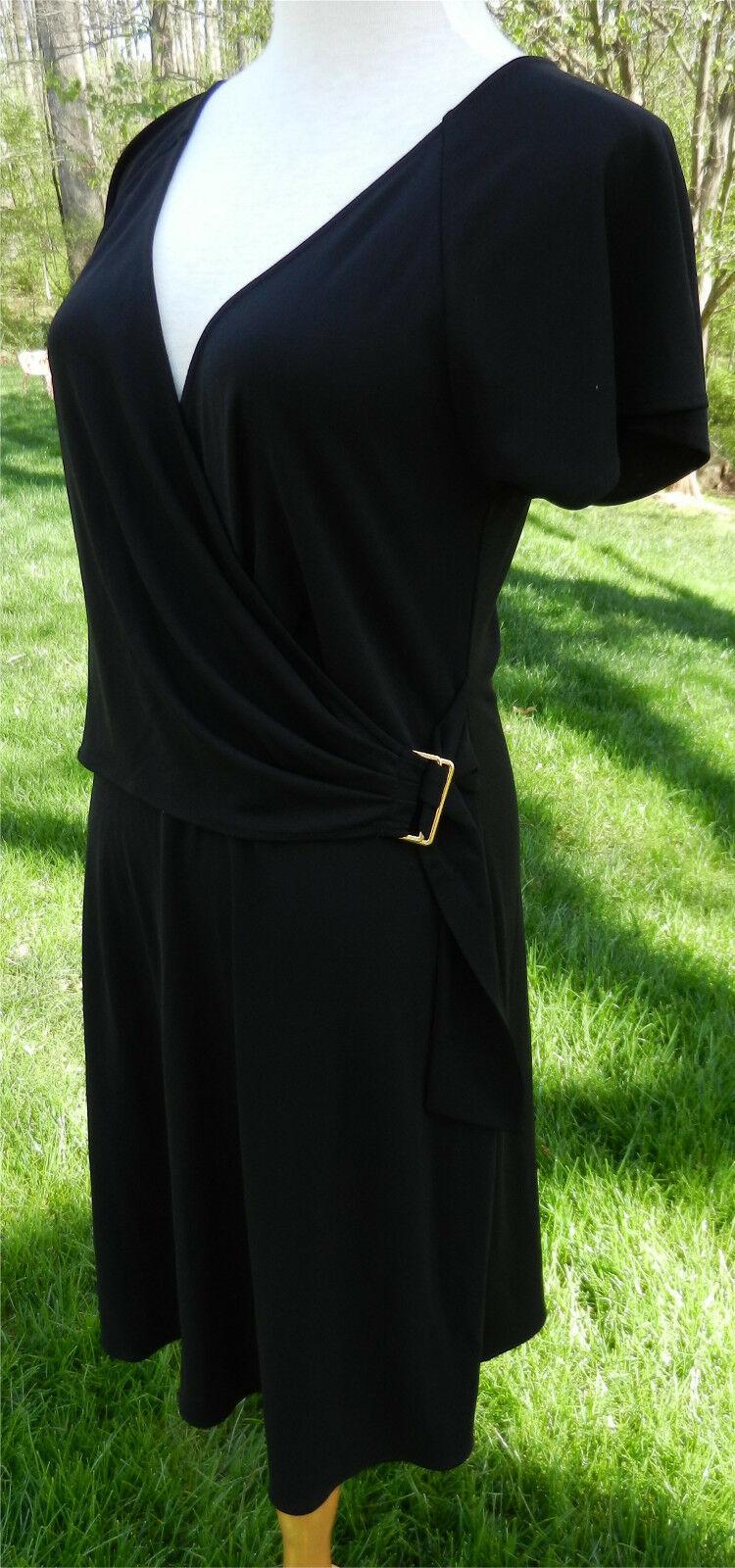 BCBG MAX AZRIA Black SS Faux Wrap Dress Slinky VNeck Gold Buckle at Waist M NWOT