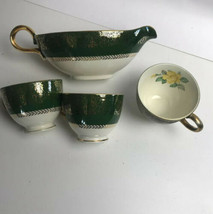 Homer Laughlin Lady Greenbriar Nautilus 3 Cups 1 Creamer Yellow Rose Gold Trim - $24.74