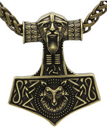Mens Necklace Viking Thors Hammer Head Pendant Antique Bronze Metal Chai... - $143.05