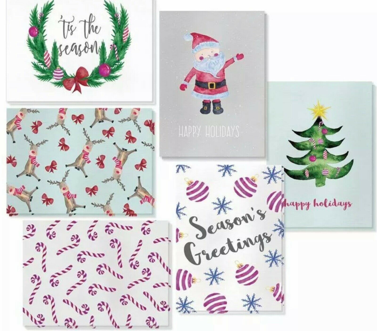 Primary image for 48 Pack Christmas Greeting Cards 6 Assorted Winter Designs Happy Holidays