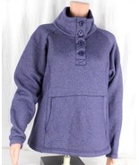 Columbia women's pullover half  buttons purple cotton warm size L - $20.22