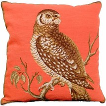 Throw Pillow Petit Point Little Hawk Owl History Carolina - £215.98 GBP