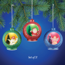 Color Changing Christmas Ornaments Set - Light Up Santa, Snowman and An... - $13.29