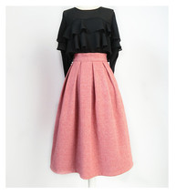 Lady Pink Winter Wool Skirt Pink High Waist Midi Pleated Skirt Winter Party Plus image 10