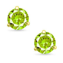 Martini Round Cut Peridot CZ 14k YG Plated Sterling Silver Stud Earrings New  - $33.64+