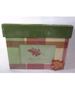 Photo Box with Photo Frame Set Gift Box Green Plaid With Leaves - $11.87