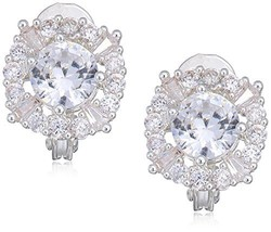 Classics Sivler Tone Pave Cz Button Clip On Earrings - $22.94
