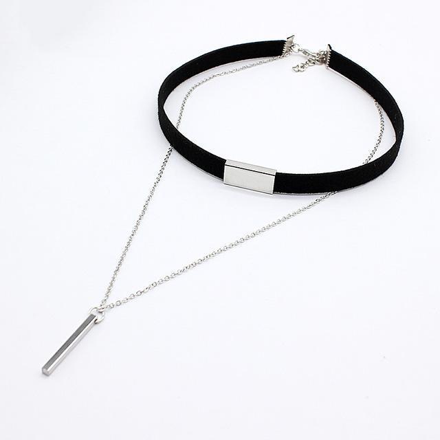 HMIXN Black Velvet Ladies Choker Necklace with Chain & Pendant image 3