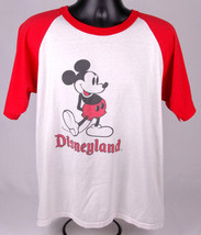 Rare Disneyland True Vintage T Shirt-Adult Size X Large-Mickey Mouse-White Red - $70.11